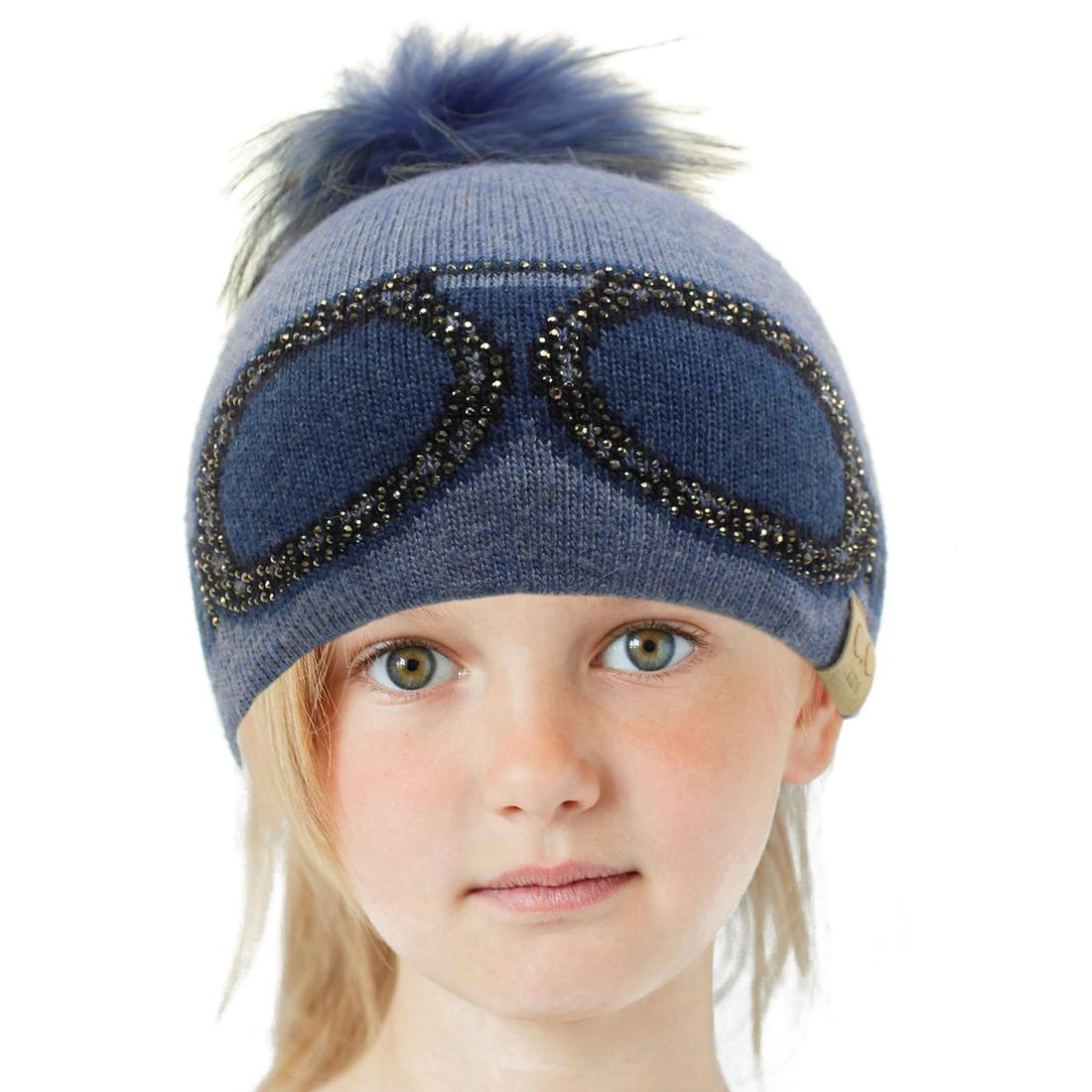 Kids CC Black Label Ages 2-7 Real Fur PomPom Stretchy Knit Beanie Cap Hat