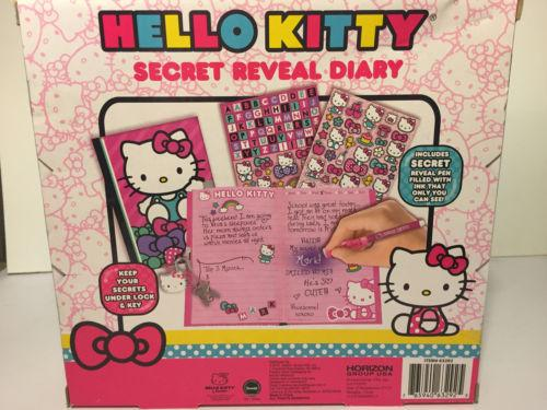 NEW~ HELLO KITTY ~Secret Reveal Locking Kids Pink Diary 120 Page Stickers Pen