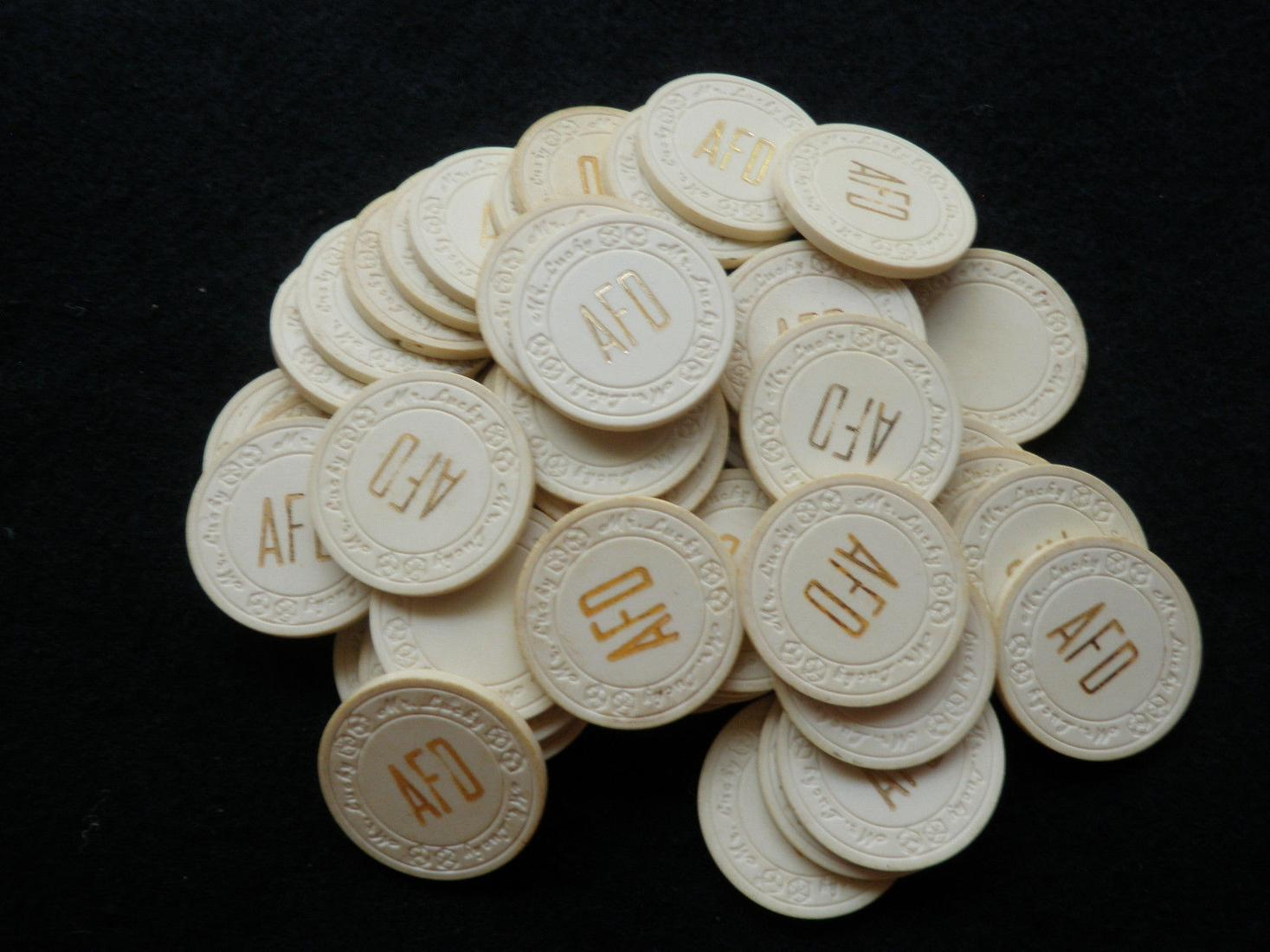 50 Mr. Lucky Poker Chips - AFD Old Vintage Rare Gambling Gaming Good Luck 代拍_