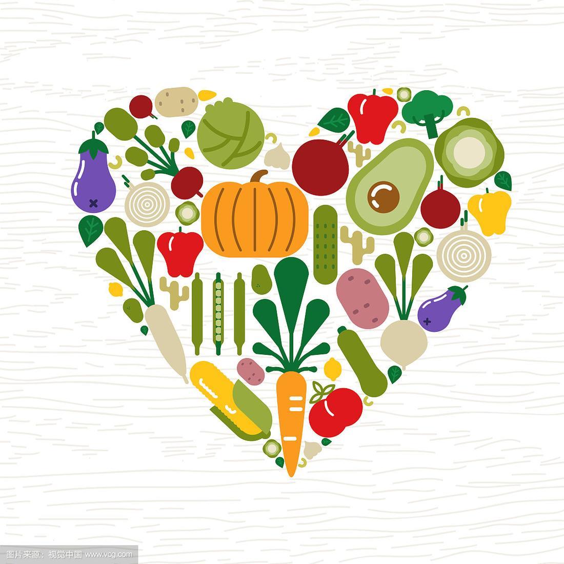 蔬菜,食品,计算机图标,概念,心型,轮廓,自然,有机食品,符号,健康食物